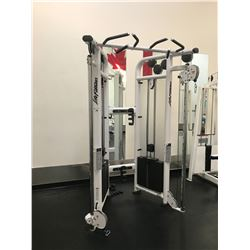 LIFE FITNESS WHITE / BLACK DUAL ADJUSTABLE PULLEY CABLE PULL SYSTEM