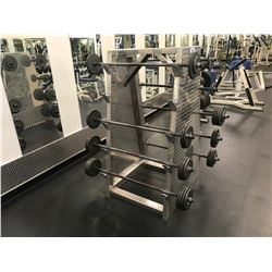 CHECKER PLATE 5-TEIR BARBELL STAND WITH ASSORTED BARBELLS