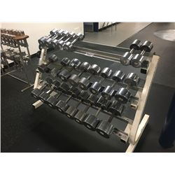 HEAVY DUTY METAL RACK WITH ASSORTED DUMBBELLS