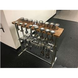 METAL RACK WITH ASSORTED DUMBBELLS