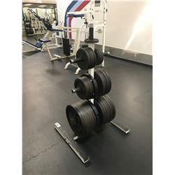 WHITE MULTI-TIER WEIGHT RACK WITH ASSORTED FREE WEIGHTS