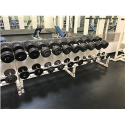 WHITE INDUSTRIAL WEIGHT RACK WITH ASSORTED DUMBBELLS