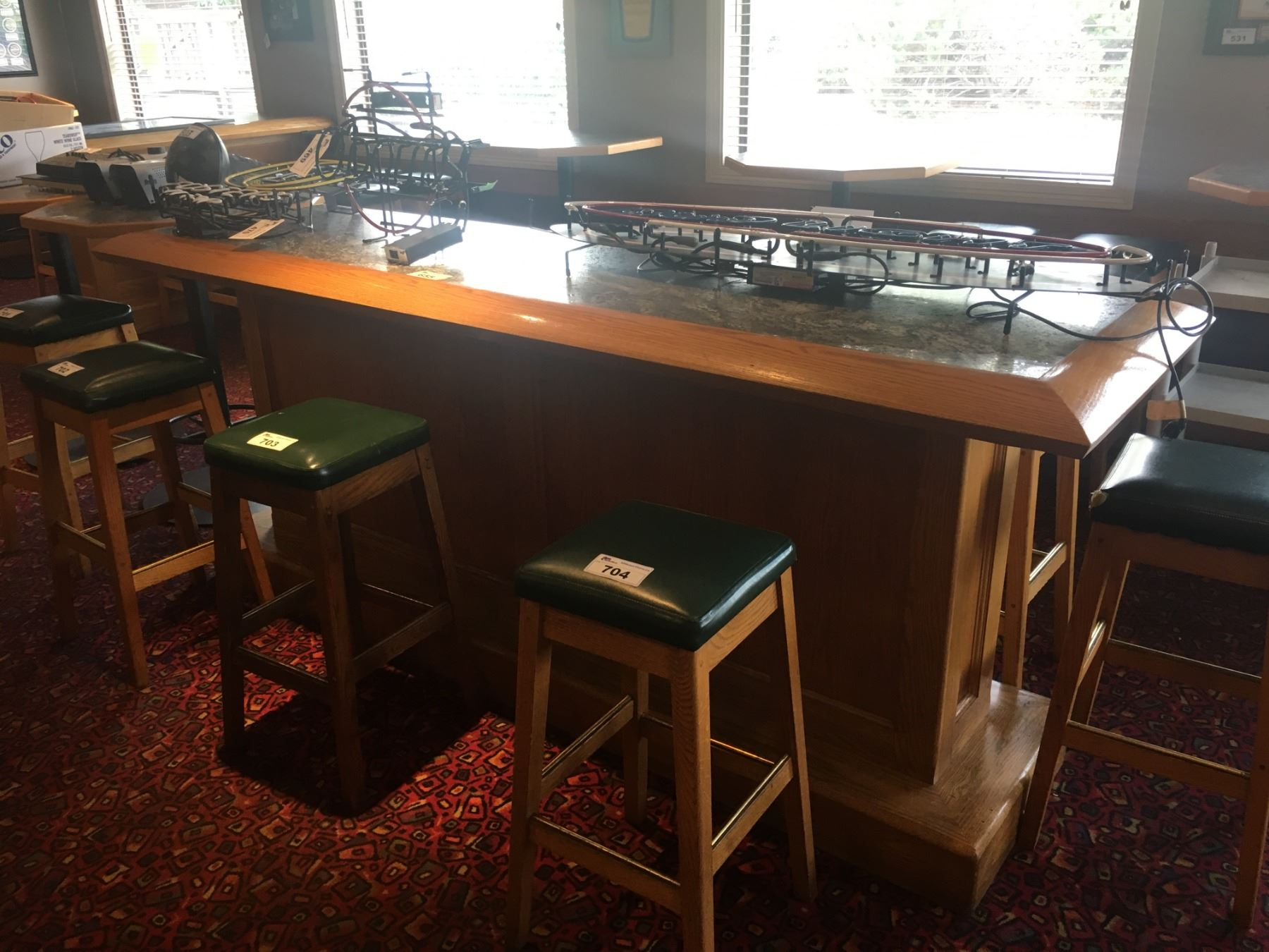 Picture of: Approx 8 Ft Bar Height Wood Rectangular Restaurant Table