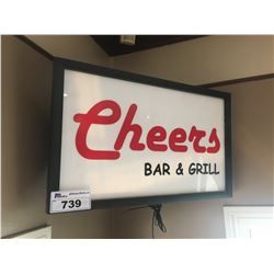 ILLUMINATED CHEERS SIGN & WOOD BEER SIGN