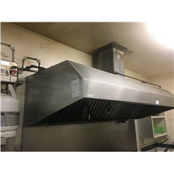 APPROX. 8 FT STAINLESS STEEL EXHAUST CANOPY WITH FIRE SUPPRESSION SYSTEM