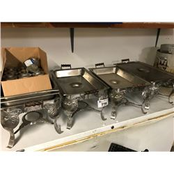 4 ASSORTED CHAFING DISHES WITH FUEL