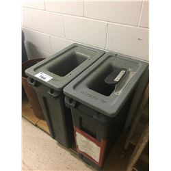 PAIR OF GARBAGE CANS WITH JR CHUTE METAL CATCHING MAGNETIC LIDS