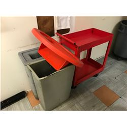 2 GARBAGE CANS WITH MAGNETIC LIDS & METAL ROLLING CART