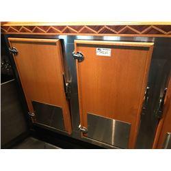 4 COOLER DOORS WITH HARDWARE & GLASS RACK HOLDERS