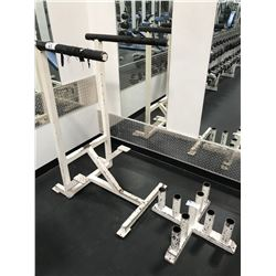 WHITE VERTICAL BARBELL STAND & DIP RACK