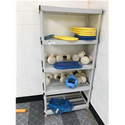 ASSORTED POOL CLEANING SUPPLIES & EXERCISE EQUIPMENT ON SHELF