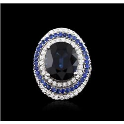 14.21 ctw Sapphire and Diamond Ring - 18KT White Gold GIA Certified