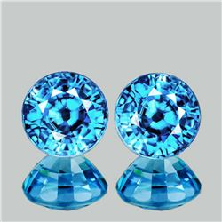 Natural Cambodian Intense Blue Zircon Pair 6.50 MM - FL