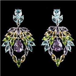 Natural AMETHYST TOPAZ PERIDOT CITRINE Earrings