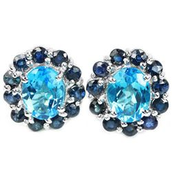 Natural SWISS BLUE TOPAZ & BLUE SAPPHIRE Earrings
