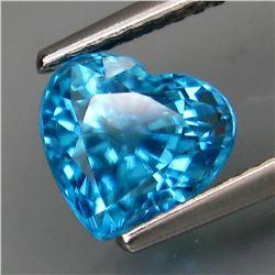 Natural Combodian Blue Zircon Heart 2.85 Cts