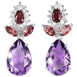 NATURAL AMETHYST RHODOLITE GARNET Earrings