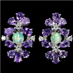 NATURAL AAA  OPAL & PURPLE AMETHYST Earrings