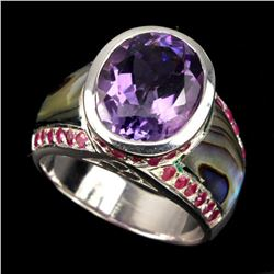 Natural Purple Amethyst Ruby Mother Of Pearl 53 Ct Ring