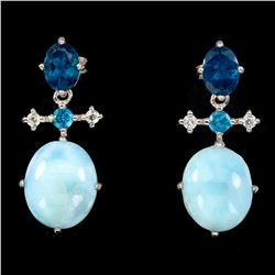 Natural Blue Larimar & Apatite Earrings