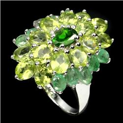 Natural Green Chrome Diopside Emerald Peridot Ring