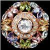Image 2 : Ntural ROSE QUARTZ TOPAZ TANZANITE & TOURMALINE Ring