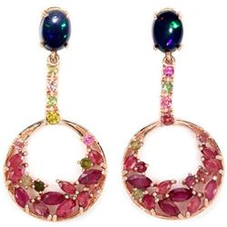 BLACK OPAL RUBY & MULTI COLOR TOURMALINE Earrings