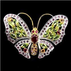 Natural  Ruby Peridot Garnet  Sapphire Butterfly Brooch
