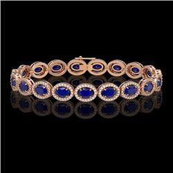 15.2 CTW Sapphire & Diamond Halo Bracelet 10K Rose Gold - REF-244X2T - 40458