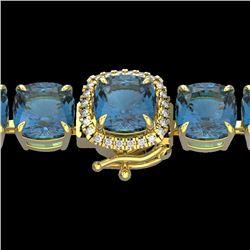 35 CTW London Blue Topaz & Micro VS/SI Diamond Halo Bracelet 14K Yellow Gold - REF-152F2N - 23332