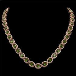 49.46 CTW Tourmaline & Diamond Halo Necklace 10K Rose Gold - REF-763K6W - 40575