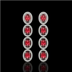 5.88 CTW Tourmaline & Diamond Halo Earrings 10K White Gold - REF-121W3F - 40520