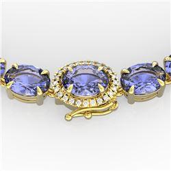 80 CTW Tanzanite & VS/SI Diamond Tennis Micro Halo Necklace 14K Yellow Gold - REF-890M9H - 23479