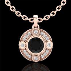 1.01 CTW Fancy Black Diamond Solitaire Art Deco Stud Necklace 18K Rose Gold - REF-69X3T - 37703