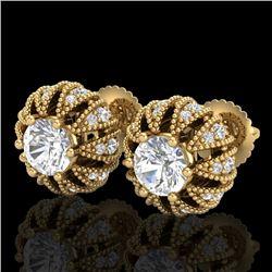 2.01 CTW VS/SI Diamond Art Deco Micro Pave Stud Earrings 18K Yellow Gold - REF-272K8W - 36997