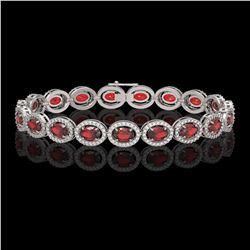14.63 CTW Garnet & Diamond Halo Bracelet 10K White Gold - REF-228N2Y - 40496