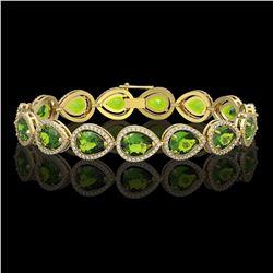 15.8 CTW Peridot & Diamond Halo Bracelet 10K Yellow Gold - REF-316T8M - 41263