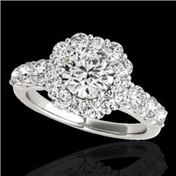 2.9 CTW H-SI/I Certified Diamond Solitaire Halo Ring 10K White Gold - REF-413X3T - 33391