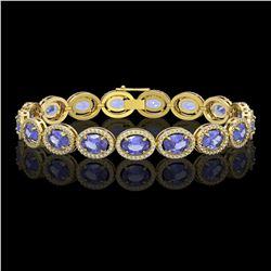 21.35 CTW Tanzanite & Diamond Halo Bracelet 10K Yellow Gold - REF-353A6X - 40612