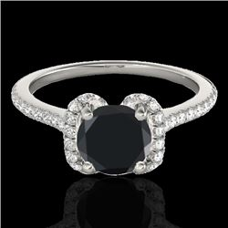 1.33 CTW Certified VS Black Diamond Solitaire Halo Ring 10K White Gold - REF-57A6X - 33292
