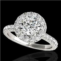 2 CTW H-SI/I Certified Diamond Solitaire Halo Ring 10K White Gold - REF-227K3W - 33445