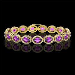 19.82 CTW Amethyst & Diamond Halo Bracelet 10K Yellow Gold - REF-249K5W - 40642