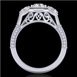 1.05 CTW VS/SI Diamond Solitaire Art Deco 3 Stone Ring 18K White Gold - REF-200X2T - 37100