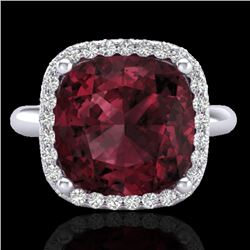 6 CTW Garnet And Micro Pave Halo VS/SI Diamond Ring Solitaire 18K White Gold - REF-56N9Y - 23099