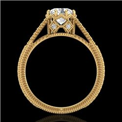 1.25 CTW VS/SI Diamond Art Deco Ring 18K Yellow Gold - REF-330M2H - 36907