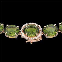 145 CTW Green Tourmaline & VS/SI Diamond Halo Micro Necklace 14K Rose Gold - REF-1166M2H - 22299