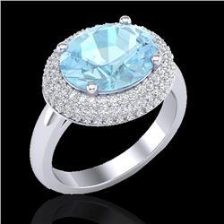 4 CTW Aquamarine & Micro Pave VS/SI Diamond Ring 18K White Gold - REF-125N3Y - 20905