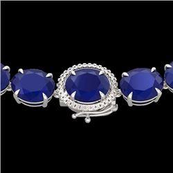 170 CTW Sapphire & VS/SI Diamond Halo Micro Solitaire Necklace 14K White Gold - REF-685F3N - 22314