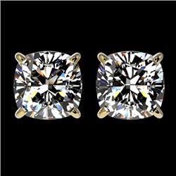 2 CTW Certified VS/SI Quality Cushion Cut Diamond Stud Earrings 10K Yellow Gold - REF-585T2M - 33099
