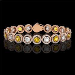 13.76 CTW Canary Yellow & White Diamond Designer Bracelet 18K Rose Gold - REF-1948K4W - 42600